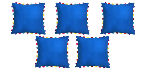 "Lushomes Sky Diver Cushion Cover with Colorful Pom Poms (5 pcs, 20 x 20"") - Lushomes"