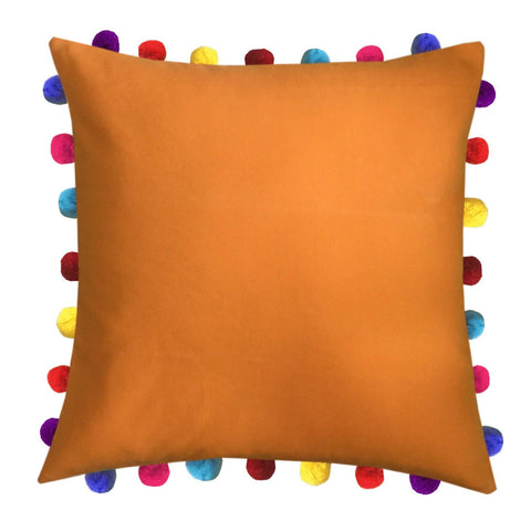 "Lushomes Sun Orange Cushion Cover with Colorful Pom Poms (Single pc, 20 x 20"") - Lushomes"