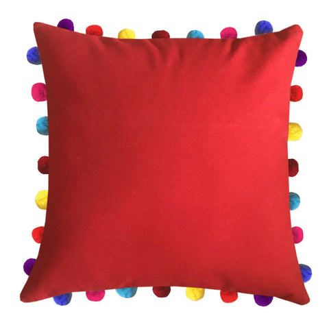 "Lushomes Tomato Cushion Cover with Colorful Pom Poms (Single pc, 20 x 20"") - Lushomes"