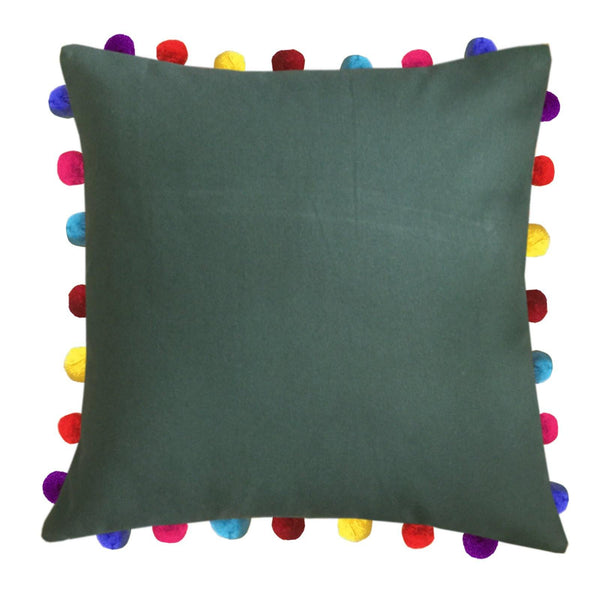 "Lushomes Vineyard Green Cushion Cover with Colorful Pom Poms (5 pcs, 20 x 20"") - Lushomes"