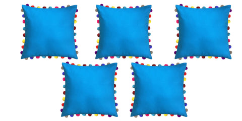 "Lushomes Bachelor Button Cushion Cover with Colorful Pom poms (5 pcs, 24 x 24"") - Lushomes"