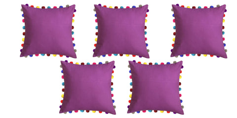 "Lushomes Bordeaux Cushion Cover with Colorful Pom poms (5 pcs, 24 x 24"") - Lushomes"