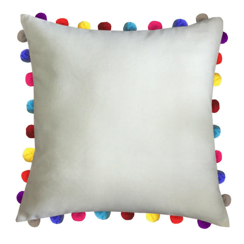 "Lushomes Ecru Cushion Cover with Colorful Pom poms (Single pc, 24 x 24"") - Lushomes"