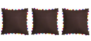"Lushomes French Roast Cushion Cover with Colorful Pom poms (3 pcs, 24 x 24"") - Lushomes"