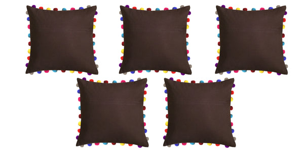 Lushomes French Roast Cushion Cover with Colorful Pom poms (Single pc, 24 x 24‰۝)