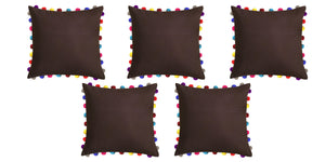 "Lushomes French Roast Cushion Cover with Colorful Pom poms (5 pcs, 24 x 24"") - Lushomes"