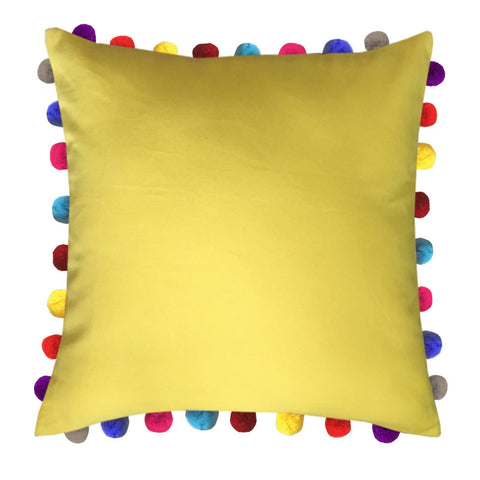 "Lushomes Lemon Chrome Cushion Cover with Colorful Pom poms (Single pc, 24 x 24"") - Lushomes"