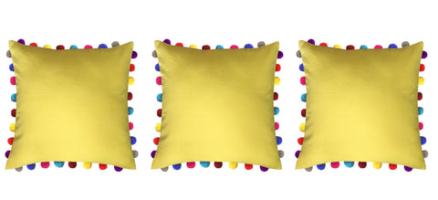 "Lushomes Lemon Chrome Cushion Cover with Colorful Pom poms (3 pcs, 24 x 24"") - Lushomes"