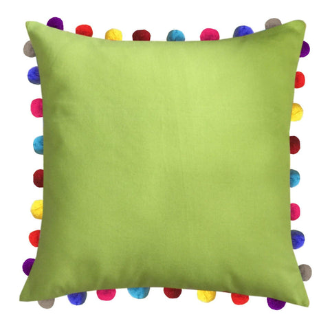 "Lushomes Palm Cushion Cover with Colorful Pom poms (Single pc, 24 x 24"") - Lushomes"