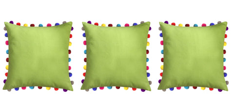 "Lushomes Palm Cushion Cover with Colorful Pom poms (3 pcs, 24 x 24"") - Lushomes"
