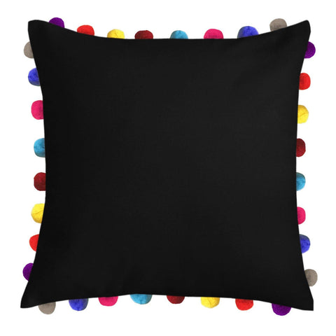 "Lushomes Pirate Black Cushion Cover with Colorful Pom poms (Single pc, 24 x 24"") - Lushomes"