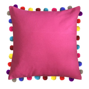 "Lushomes Rasberry Cushion Cover with Colorful Pom poms (Single pc, 24 x 24"") - Lushomes"