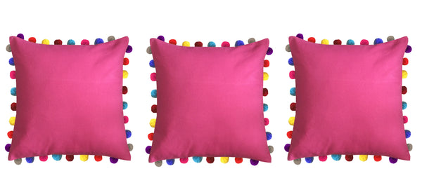 Lushomes Rasberry Cushion Cover with Colorful Pom poms (Single pc, 24 x 24‰۝)