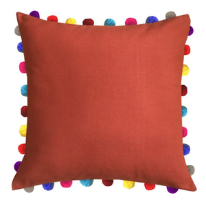 "Lushomes Red Wood Cushion Cover with Colorful Pom poms (Single pc, 24 x 24"") - Lushomes"