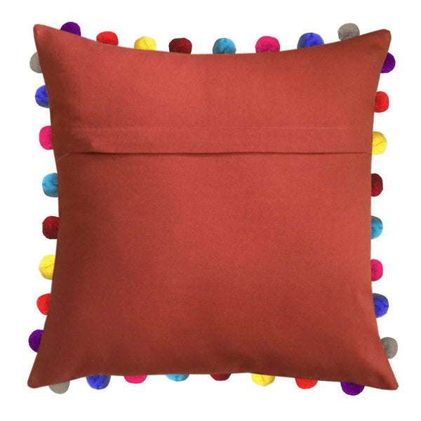 "Lushomes Red Wood Cushion Cover with Colorful Pom poms (3 pcs, 24 x 24"") - Lushomes"