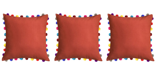 Lushomes Red Wood Cushion Cover with Colorful Pom poms (Single pc, 24 x 24‰۝)