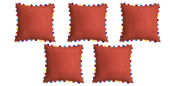 "Lushomes Red Wood Cushion Cover with Colorful Pom poms (5 pcs, 24 x 24"") - Lushomes"