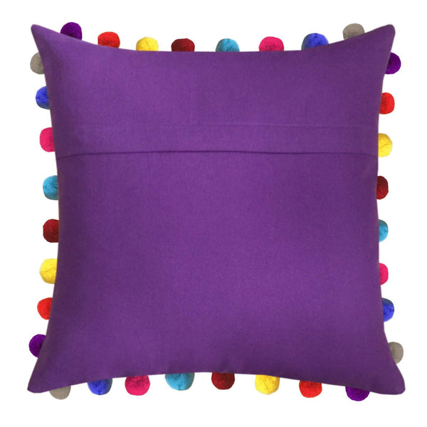 "Lushomes Royal Lilac Cushion Cover with Colorful Pom poms (3 pcs, 24 x 24"") - Lushomes"