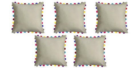 "Lushomes Sand Cushion Cover with Colorful Pom poms (5 pcs, 24 x 24"") - Lushomes"