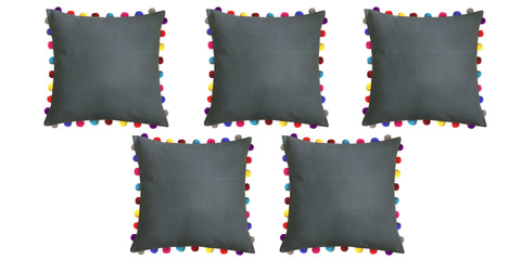 "Lushomes Sedona Sage Cushion Cover with Colorful Pom poms (5 pcs, 24 x 24"") - Lushomes"