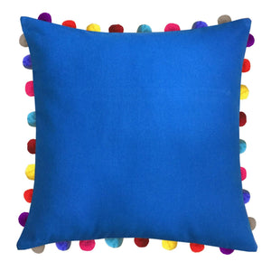 "Lushomes Sky Diver Cushion Cover with Colorful Pom poms (Single pc, 24 x 24"") - Lushomes"