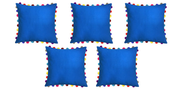 Lushomes Sky Diver Cushion Cover with Colorful Pom poms (Single pc, 24 x 24‰۝)