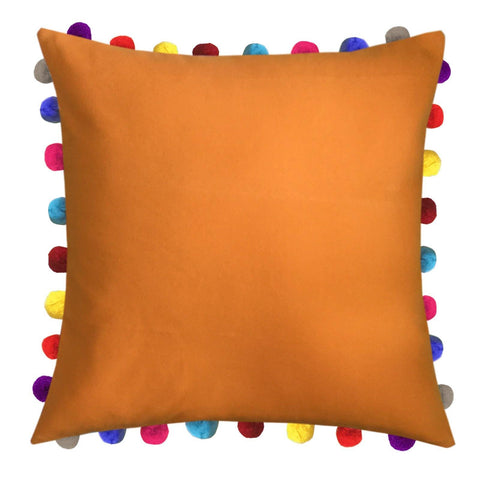 "Lushomes Sun Orange Cushion Cover with Colorful Pom poms (Single pc, 24 x 24"") - Lushomes"