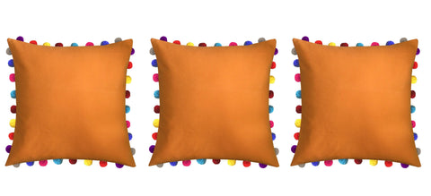 "Lushomes Sun Orange Cushion Cover with Colorful Pom poms (3 pcs, 24 x 24"") - Lushomes"