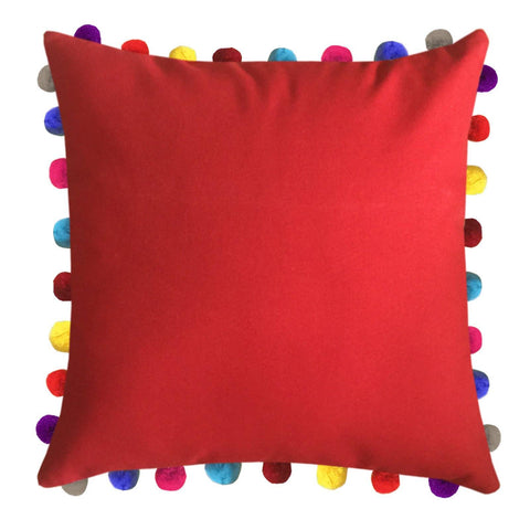 "Lushomes Tomato Cushion Cover with Colorful Pom poms (Single pc, 24 x 24"") - Lushomes"