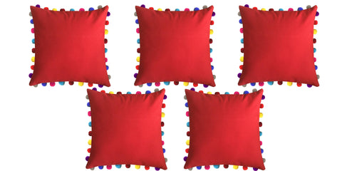 "Lushomes Tomato Cushion Cover with Colorful Pom poms (5 pcs, 24 x 24"") - Lushomes"