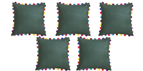 "Lushomes Vineyard Green Cushion Cover with Colorful Pom poms (5 pcs, 24 x 24"") - Lushomes"