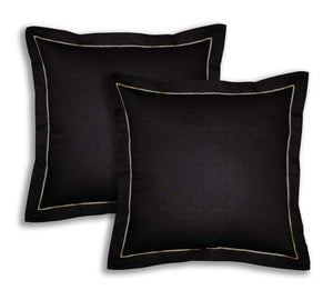 Lushomes Cotton Half Panama Pirate Black Cushion Covers (Pack of 2) - Lushomes