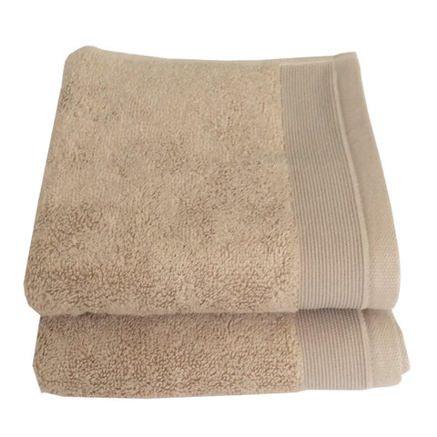 Lushomes Cotton Light Brown Hand Towel Set (Pack of 2) - Lushomes