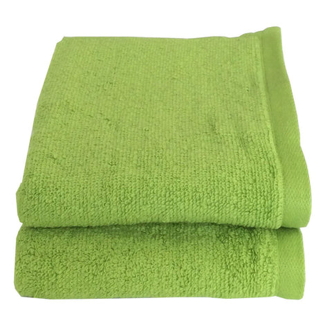Lushomes Cotton Light Green Hand Towel Set (Pack of 2) - Lushomes