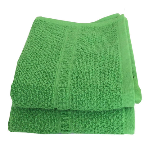 Lushomes Cotton Dark Green Hand Towel Set (Pack of 2) - Lushomes