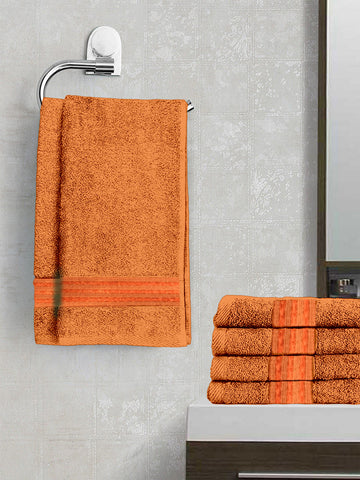 Lushomes Orange Superior Cotton Hand Towel Set  (40 x 60 cms, Pack of 6 Pcs) - Lushomes