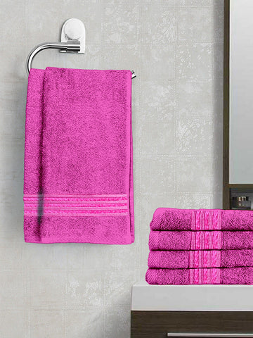 Lushomes Dark Pink Superior Cotton Hand Towel Set (40 x 60 cms, Pack of 6 Pcs) - Lushomes