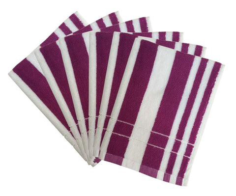 "Lushomes Purple Cotton Hand towel Set with Ultra-Silky stripe Finish (16 x 24"" or 40 x 60 cms, 450 GSM, Pack of 6) - Lushomes"