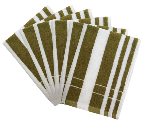 "Lushomes Olive Cotton Hand towel Set with Ultra-Silky stripe Finish (16 x 24"" or 40 x 60 cms, 450 GSM, Pack of 6) - Lushomes"