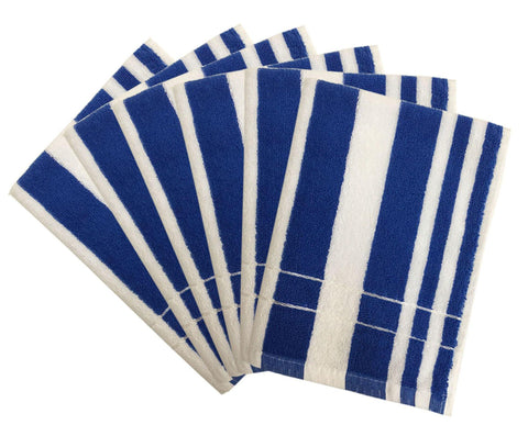 "Lushomes Blue Cotton Hand towel Set with Ultra-Silky stripe Finish (16 x 24"" or 40 x 60 cms, 450 GSM, Pack of 6) - Lushomes"