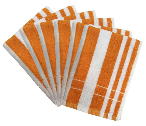 Lushomes Orange Cotton Hand towel Set with Ultra-Silky stripe Finish (16 x 24 or 40 x 60 cms, 450 GSM, Pack of 6) - Lushomes