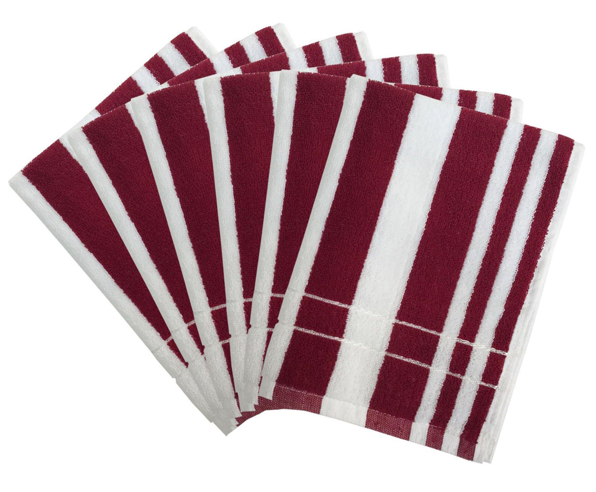 "Lushomes Maroon Cotton Hand towel Set with Ultra-Silky stripe Finish (16 x 24"" or 40 x 60 cms, 450 GSM, Pack of 6) - Lushomes"