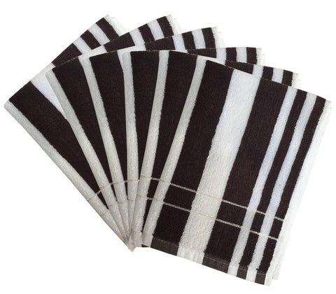 "Lushomes Brown Cotton Hand towel Set with Ultra-Silky Stripe Finish (16 x 24"" or 40 x 60 cms, 450 GSM, Pack of 6)- Stripe collection - Lushomes"