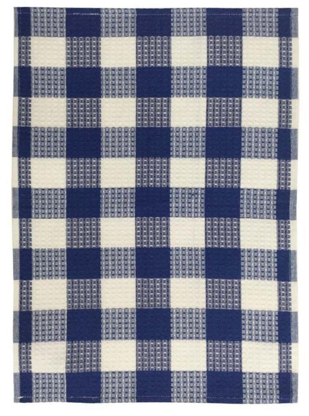 Lushomes Blue Waffle Cotton Kitchen Tea Dish Hand Towel Rags Linen Set (Pack of 2) - Lushomes