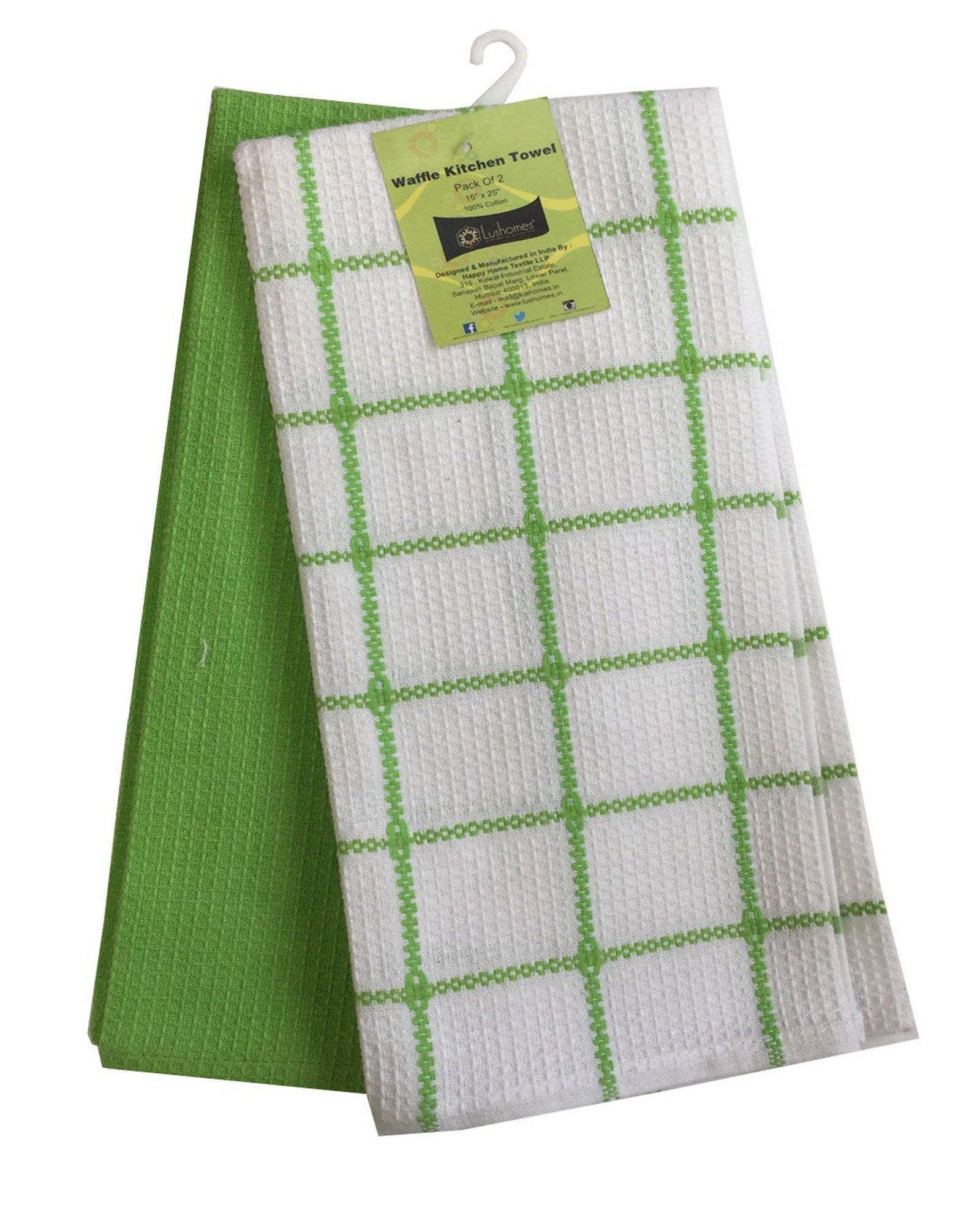 "Lushomes Lime Green Waffle Cotton Kitchen Tea Dish Hand Towel Rags Linen Set (Pack of 2), Size: 15""x25"" - Lushomes"