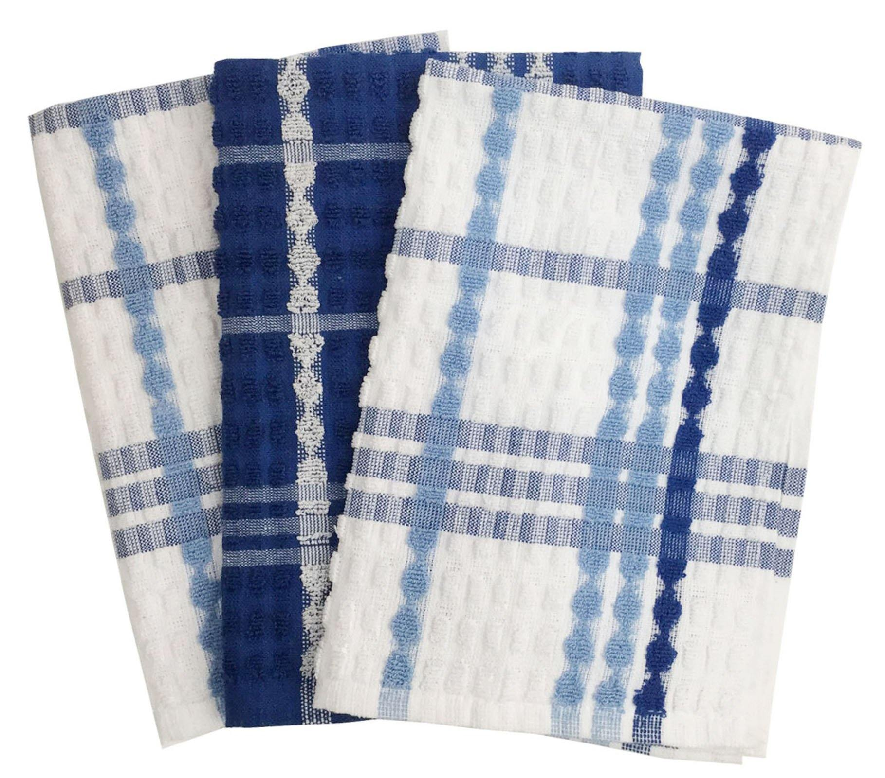 Lushomes Blue Terry Cotton Kitchen Tea Dish Hand Towel Rags Linen Set (Pack of 3) - Lushomes