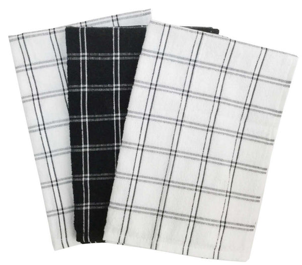 Lushomes Black Terry Cotton Kitchen Tea Dish Hand Towel Rags Linen Set (Pack of 3) - Lushomes