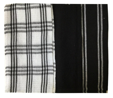 "Lushomes Super Absorbent & Soft Black Cotton Kitchen Tea Dish Hand Towel Rags Linen Set (13"" x 22, Pack of 3) - Lushomes"