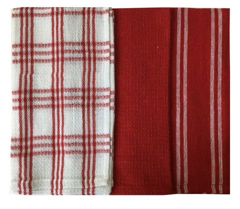 "Lushomes Super Absorbent & Soft Red Cotton Kitchen Tea Dish Hand Towel Rags Linen Set (13"" x 22, Pack of 3) - Lushomes"