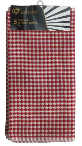 Lushomes Red Mini Honey Comb Checks Cotton Kitchen Tea Dish Hand Towel Rags Linen Set (Pack of 5) - Lushomes